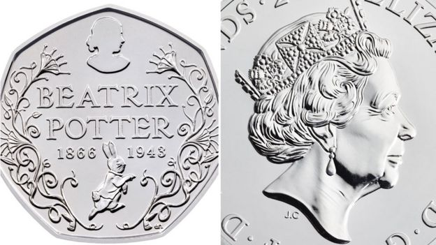 New 50p piece and Queen's portrait