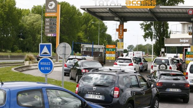 French petrol staion queues, 2016