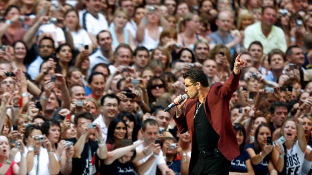 George Michael performing at Wembley