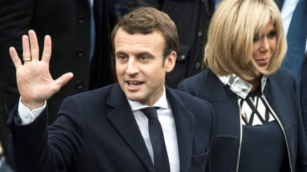 Emmanuel Macron and his wife Brigitte Trogneux. Photo: 7 May 2017