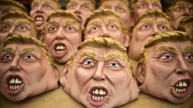 Masks representing US Republican presidential candidate Donald Trump are pictured in a factory of costumes and masks on 16 October, 2015, in Jiutepec, Morelos State.