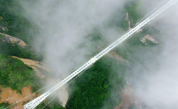The glass suspension bridge in Zhangjiajie, China