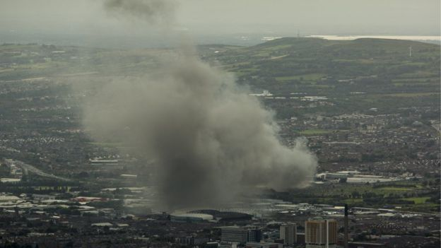 An aerial view of the smoke from the west Belfast fire (Picture courtesy of Colin Williams)