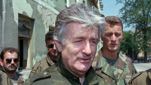 Radovan Karadzic in the Bosnian town of Jajce, August 1995