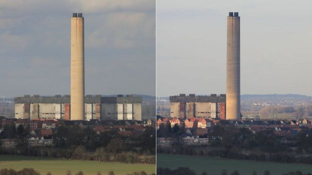 Before and after photo of Didcot power station collapse