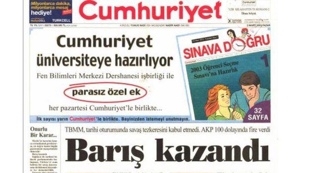 cumhuriyet 1 mart kapağı