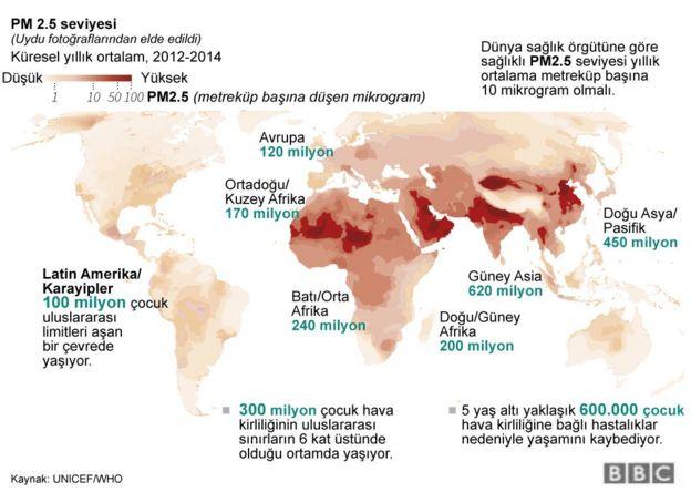 Hava kirliliğinden en fazla etkilenen bölge Güney Asya.