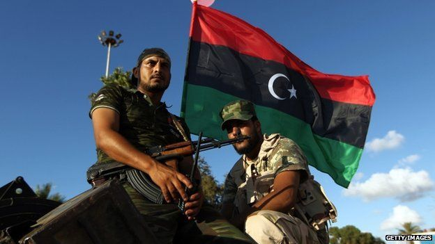 Libyan troops during a demonstration calling on the international community to arm the Libyan army