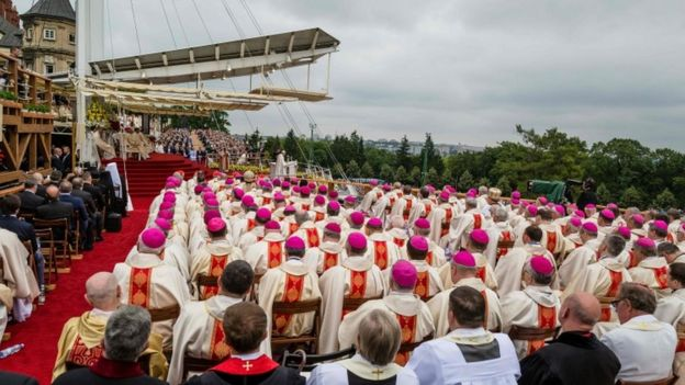 Bishops attend a mass celebrated by Pope Francis
