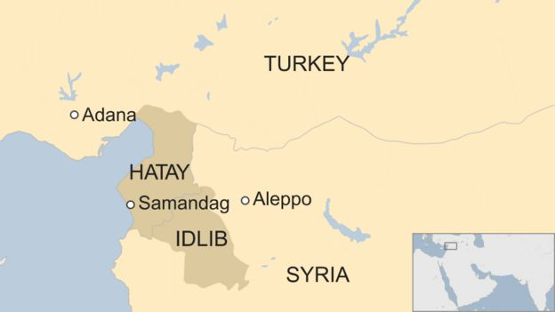 Map of Idlib in Syria and Hatay in Turkey