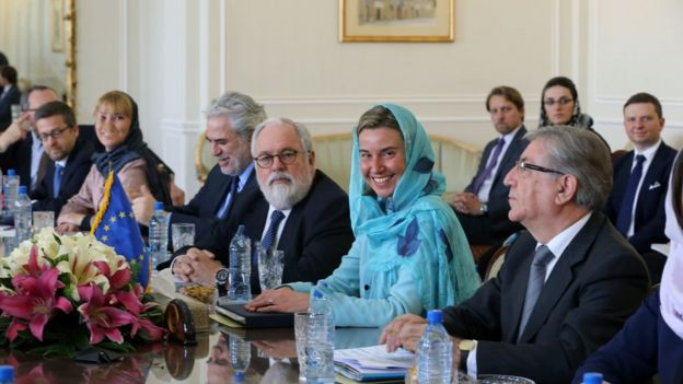 European Union High Representative for Foreign Affairs, Federica Mogherini (2ndR) and her delegation meet with Iran's Foreign minister on April 16, 2016 in the capital Tehran