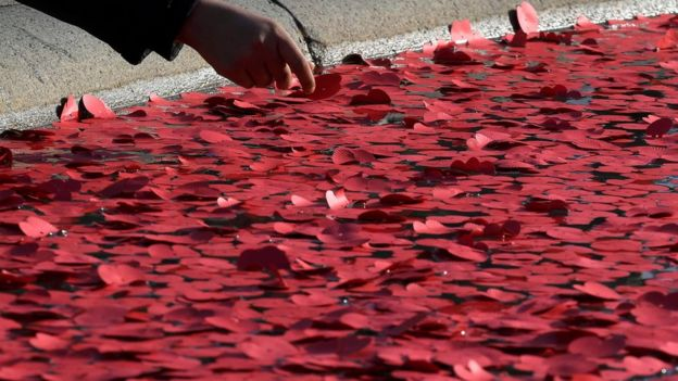 A poppy is placed in a fountain during the Silence in the Square event in Trafalgar Square