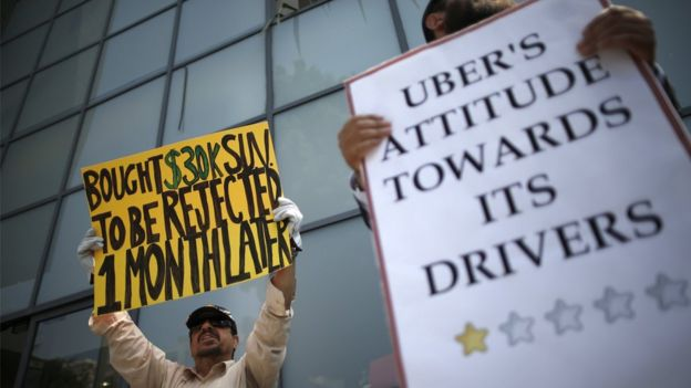 Commercial drivers with Uber protest against working conditions in Santa Monica