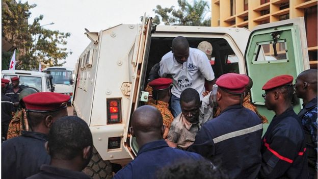 Burkina Faso forces free hostages from the Splendid Hotel in Ouagadougou, Burkina Faso, 16 January 2016.