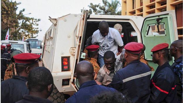 Burkina Faso forces free hostages from the Splendid Hotel in Ouagadougou, Burkina Faso, 16 January 2016.