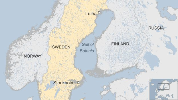 Map showing Sweden and Finland, with Lulea and the Gulf of Bothnia marked out