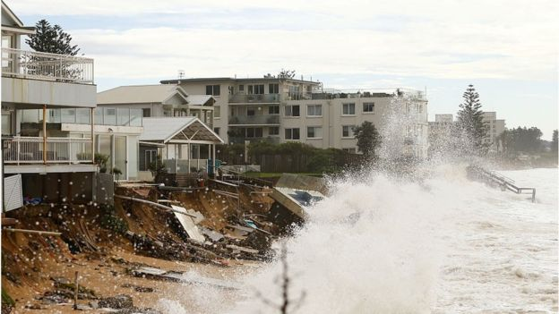 Damage to the beach at Collaroy, NSW