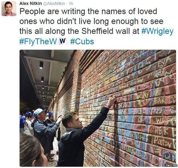 Local reporter Alex Nitkin posted this image on his Twitter feed of fans writing messages on a wall at Wrigley Field