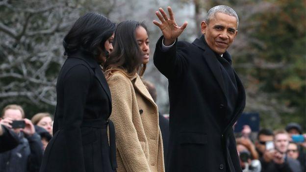 奥巴马一家从华盛顿出发