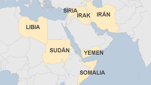 Mapa con los 7 países incluidos en la prohibición