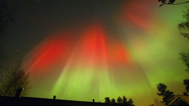 Aurora boreal na Finlândia em 2003