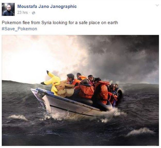 Pokémones en un bote de inmigrantes