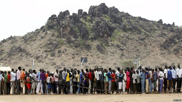 South Sudanese refugees queue in Kenya