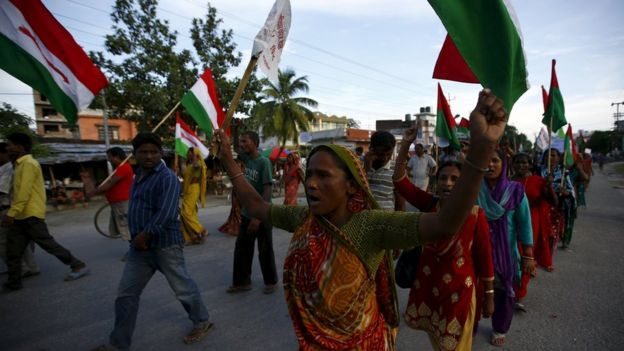 Protesters affiliated with Madhesi groups take part during the protest against the upcoming constitution in Biratnagar, Nepal, 15 September 2015