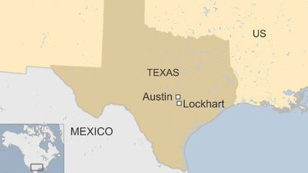 Map of Texas showing Austin and Lockart