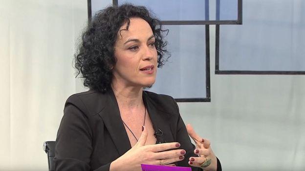 A filósofa Márcia Tiburi durante programa da TV Brasil