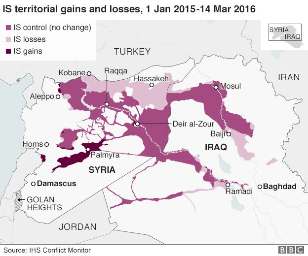 A map of Syria showing areas held, and lost, by IS militants - based on data from IHS