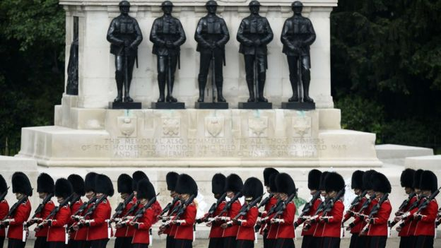 Guardsmen passed a memorial to members of the Household Division killed in service since 1918