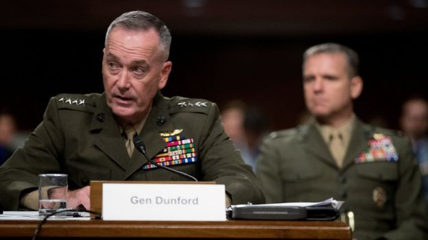 Joint Chiefs Chairman Gen. Joseph Dunford testifies on Capitol Hill in Washington