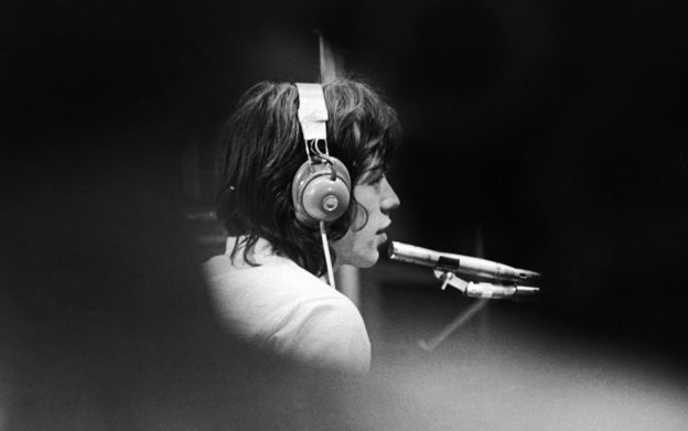Mick Jagger of The Rolling Stones in a London recording studio in 1968