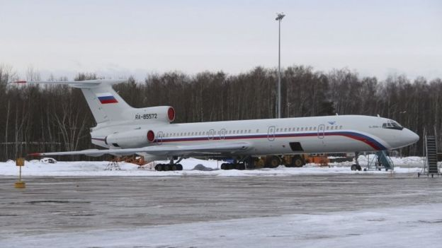 The Tu-154 that crashed into the Black Sea is seen at a military airport near Moscow in 2015