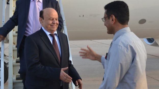 Abdrabbuh Mansour Hadi arrives in Aden, Yemen (22 September 2015)