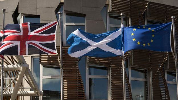 Banderas en las afueras del parlamento escocés.
