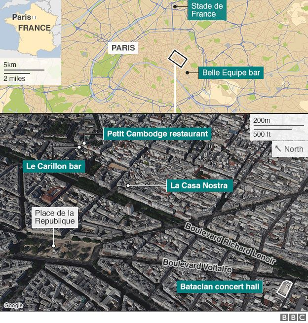 Sites of Paris attacks graphic