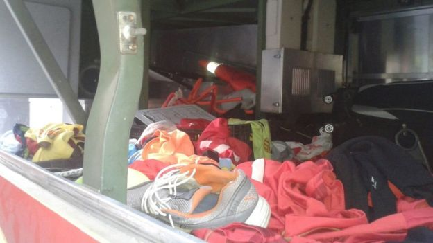 A picture published by Trujillanos on their Twitter account showing the luggage compartment of the bus