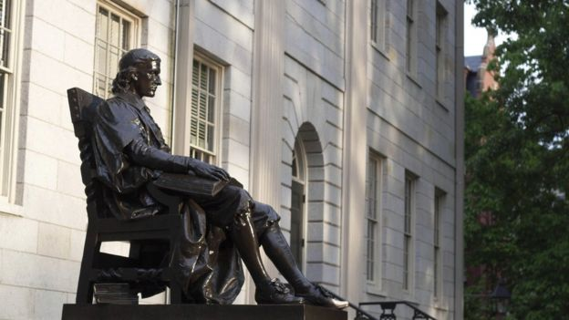 The statue of John Harvard at Harvard University