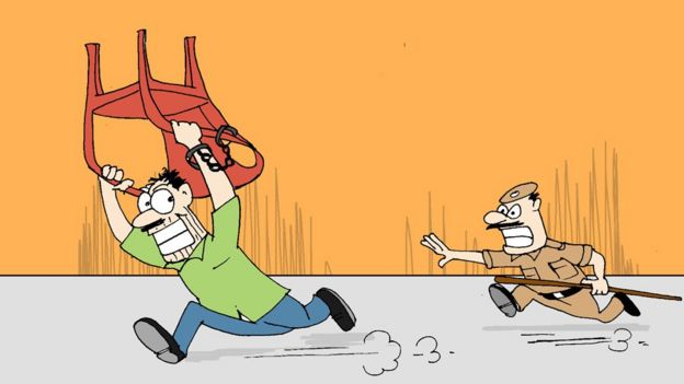 A cartoon showing a man escaping with a plastic chair from a Mumbai police station