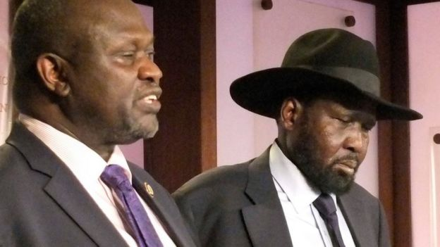 South Sudan Riek Machar, left. Salva Kiir, South Sudan President, right, on 8 July