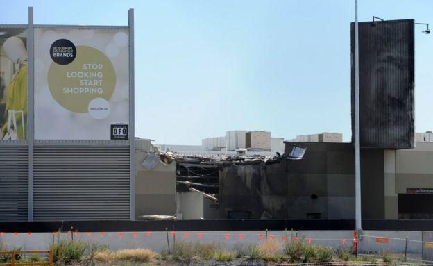 Scene of damage at the shopping centre in Essendon, Melbourne (21 Feb 2017)