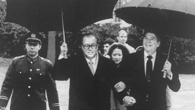 中國總理趙紫陽與美國總統列根