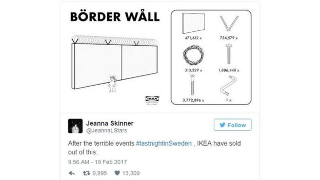 A tweet mocking Trump's Sweden comments by mocking up an Ikea-style border wall