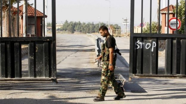Turkish soldier at Bab al-Salam border crossing with Syria