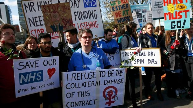 Junior doctors in England will take part in five consecutive days of strikes this September as they ramp up their opposition to a new contract. Photograph: Reuters