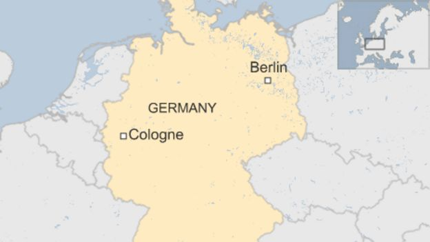 A map showing the city of Cologne in relation to Berlin