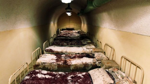 Hoxha guards' tunnel with old beds - file pic