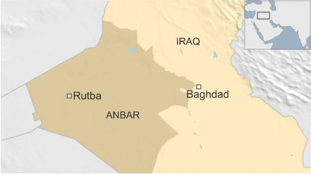 A map showing the small town of Rutba in Anbar province
